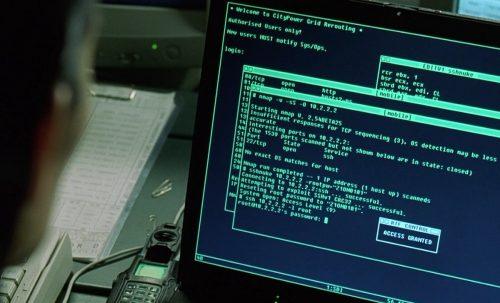 Trinity (Carrie-Anne Moss) beim Kraftwerk-Hack mit nmap