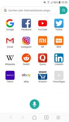 Der Desktop im Xiaomi Mint Browser