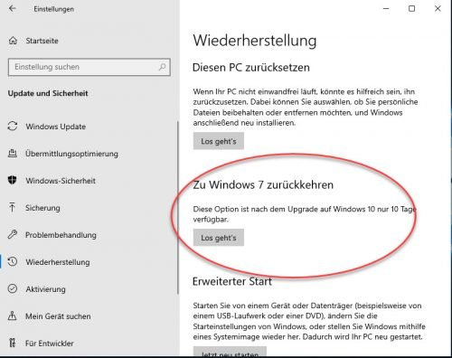 Windows 10 deinstallieren Windows 7 installieren