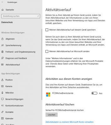 Aktivitätsverlauf in Windows 10