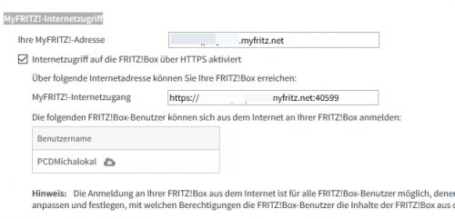 Berechtigter Benutzer für den MyFRITZ!-Internetzugriff