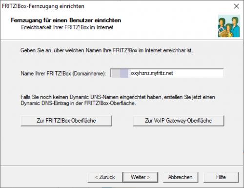 Webadresse der FRITZ!Box aus den Angaben von MyFRITZ!