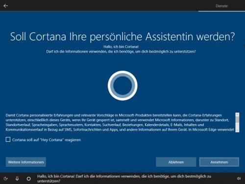 Cortana Einstellungen
