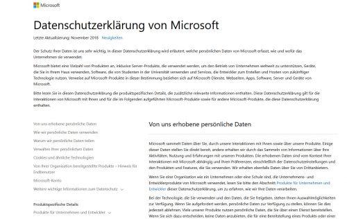 Datenschutzerklärung von Microsoft