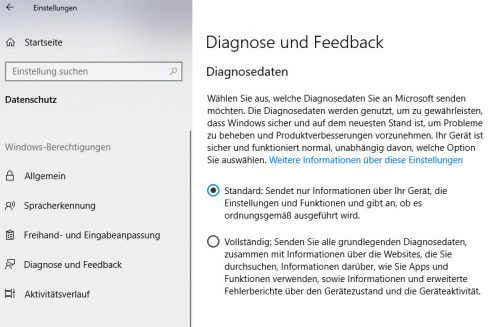 Diagnose und Feedback in den Einstellungen