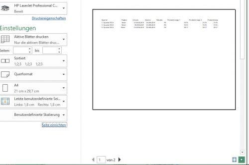 Druckvorschau im Druckdialog von Excel