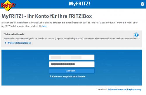 Einloggen bei MyFRITZ!