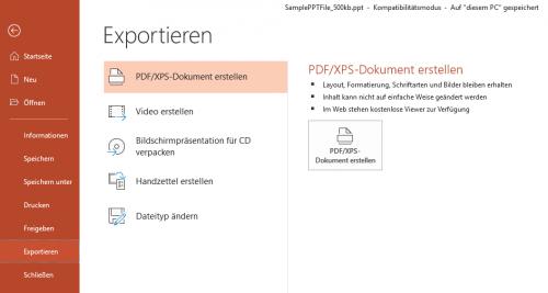 PowerPoint exportieren