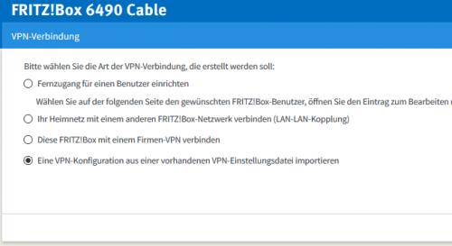 Import der VPN-Datei
