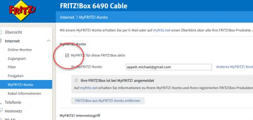 MyFRITZ! abschalten