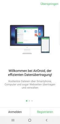 Registrierungsbildschirm von AirDroid