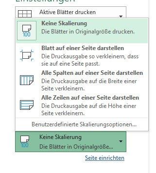 Skalierung in Excel