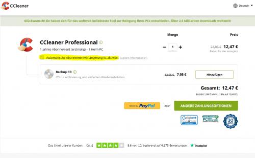 CCleaner Professional wird nur im Abo verkauft