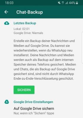 Chat Backup bei Whatsapp erstellen