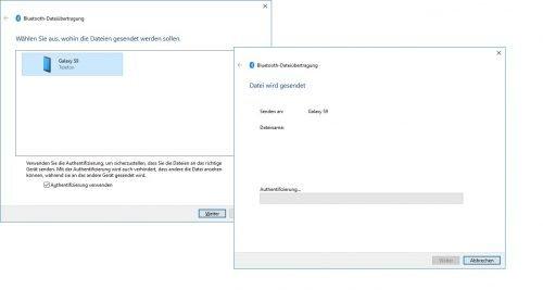 Anzeige der Datenübertragung via Bluetooth auf dem PC