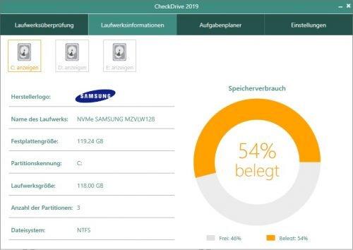 Der CheckDrive Hardware Test liest sämtliche Informationen zu Ihren Festplatten aus.