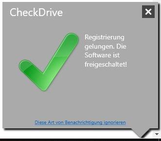 Das grüne Häkchen zeigt die erfolgreiche Registrierung an.