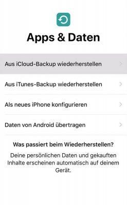 Datenübertragung beim iPhone