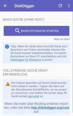 Starten Sie die Basis-Fotosuche in DiskDigger, um ohne Root nach gelöschten Bildern unter Android zu suchen.