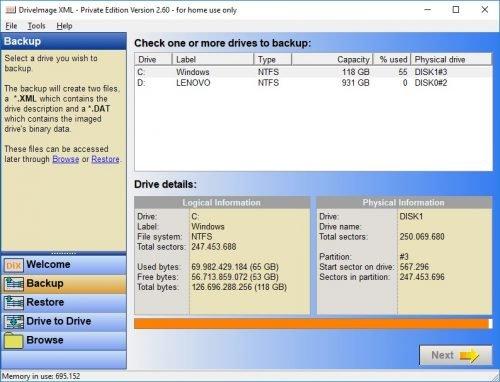 DriveImage XML zum Daten sichern