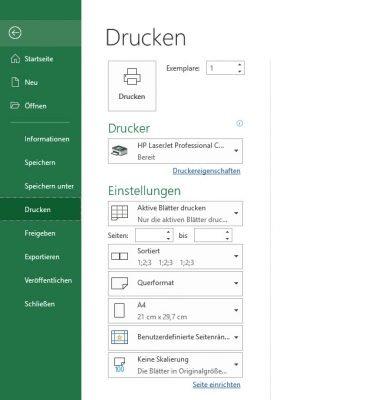 Druckdialog in Excel