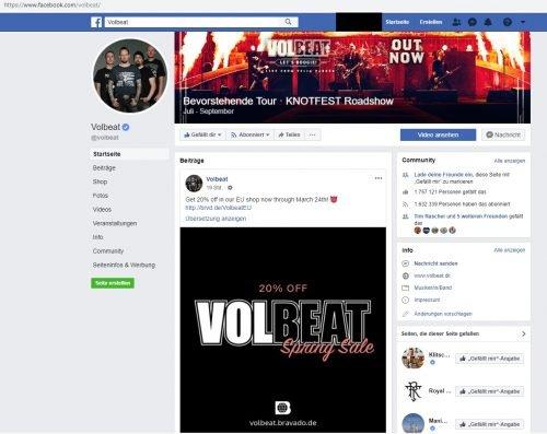 Facebook Seite von Volbeat