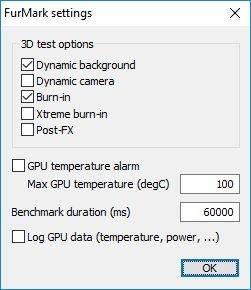 Im FurMark Hardware Test können Sie eine ganze Reihe von Einstellungen vornehmen.