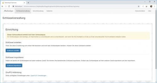 Mailvelope zur PGP Verschlüsselung im Browser
