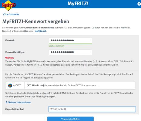 MyFRITZ!-Kennwort für den FRITZBox Fernzugriff vergeben