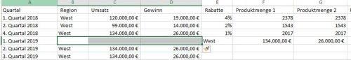 Neue leere Zellen in Excel