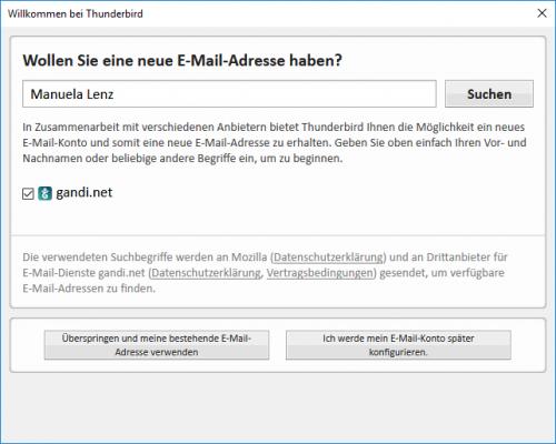 Möglichkeit E-Mail Konto in Thunderbird zu eröffnen