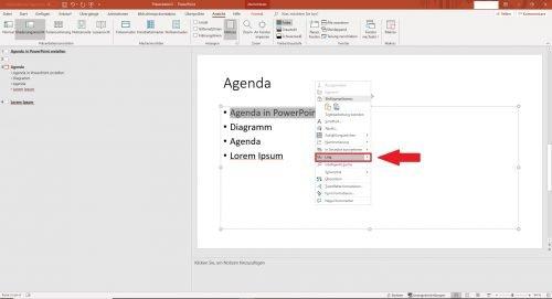 Markieren Sie den ersten Punkt in Ihrer Agenda und fügen Sie einen Link ein.