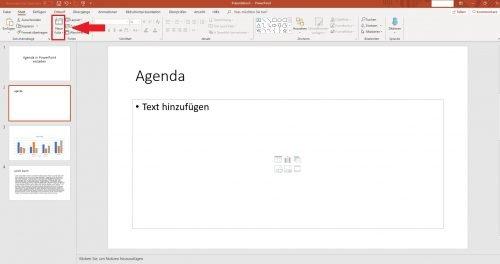 Fügen Sie eine neue Folie für die Agenda in Ihre PPT-Präsentation ein.