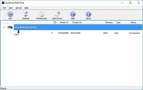 neue Ramdisk in der Laufwerksansicht von Starwind Ram Disk