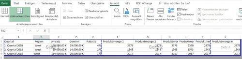 Umbruchvorschau in Excel