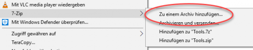 7-Zip zu einem Archiv hinzufügen