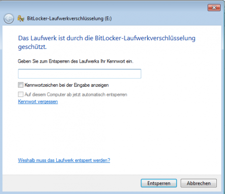 Bitlocker unter Windows 7