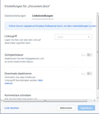 Dropbox Linkeinstellungen