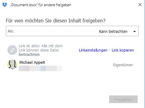 Dropbox Ordner und Dateien freigeben