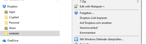 Dropbox Integration in Windows
