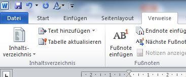 Inhaltsverzeichnis in Word 2010