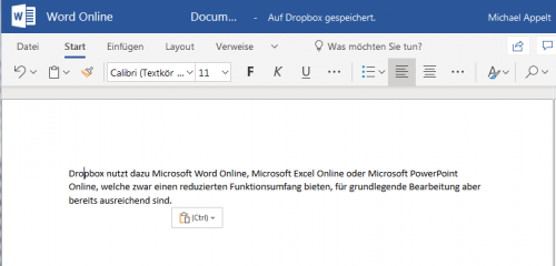 Microsoft Word Online in Dropbox