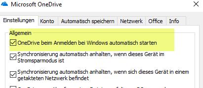 OneDrive beim Anmelden von Windows automatisch starten