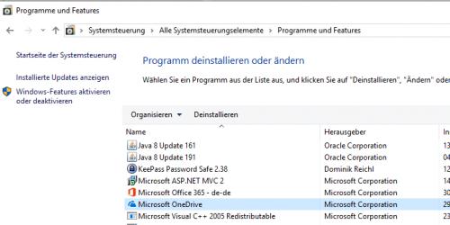 Onedrive unter Windows 7 deinstallieren