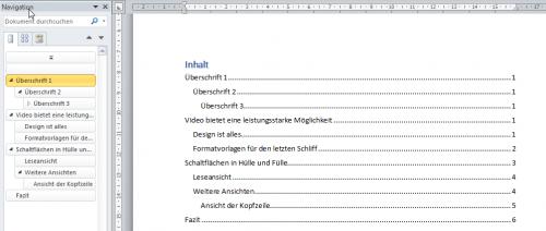 Vergleich Gliederung zu Inhaltsverzeichnis in Word