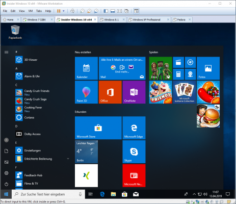 Windows 10 in einer virtuellen Maschine