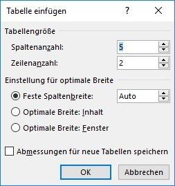 Word Tabelle einfügen Dialogfeld
