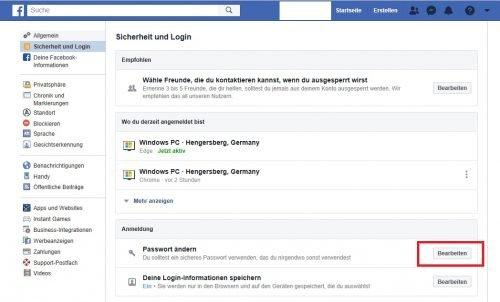 Anleitung Facebook Kennwort ändern