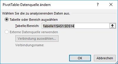 Fenster PivotTable-Datenquelle ändern in Excel