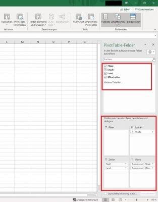 Werte hinzufügen Pivot-Tabelle